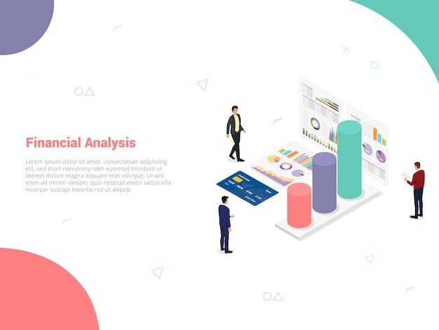 Koncepcja firmy zajmującej się analizą finansową z zespołem ludzi analizuje dane z wykresu
