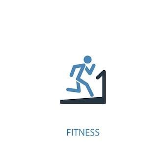 Koncepcja fitness 2 kolorowa ikona. prosta ilustracja niebieski element. projekt symbol koncepcja fitness. może być używany do internetowego i mobilnego interfejsu użytkownika/ux