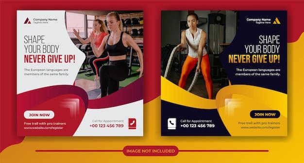 Koncepcja fitness i siłownia post w mediach społecznościowych i szablon banera