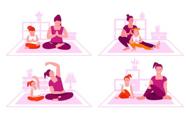 Koncepcja fitness rodziny. matka i córka razem ćwiczą jogę. zdrowy styl życia, wspólne spędzanie czasu.