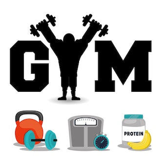 Koncepcja fitness siłownia białka trening siłowy