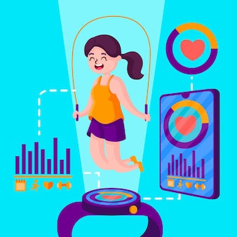 Koncepcja fitness tracker płaska konstrukcja
