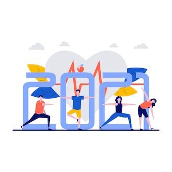 Koncepcja Fitness Z Dużą Liczbą. Malutkie Osoby Trenujące I ćwiczące. Premium Wektorów