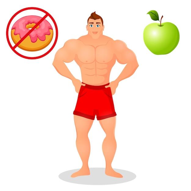Koncepcja fitness z mężczyzną kulturysta sport. modele fitness mięśni. męska sylwetka sportowca. przydatna i szkodliwa żywność. ilustracja wektorowa na białym tle.