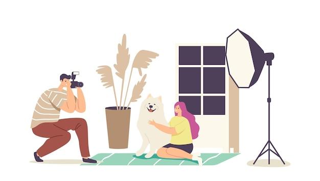 Koncepcja fotografii zwierząt. fotograf mężczyzna charakter zrobić zdjęcie dziewczyny z psem pełnej krwi w profesjonalnym studio z lekkim sprzętem. sesja zdjęciowa zwierząt domowych. ilustracja kreskówka wektor