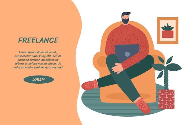 Koncepcja freelance. mężczyzna pracuje w domu z laptopem.