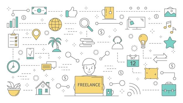 Koncepcja freelance. pomysł na pracę zdalną jako er, artysta lub copywriter. pracuj online w internecie. zestaw kolorowych ikon linii. ilustracja