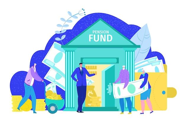 Koncepcja funduszu emerytalnego, inwestycje finansowe na emeryturę w banku i planu ubezpieczenia społecznego, na białej ilustracji. starsi emeryci otrzymują emeryturę i przyszłe oszczędności.
