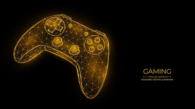 Koncepcja gier joystick do gier wideo konstrukcja low poly kontroler gier