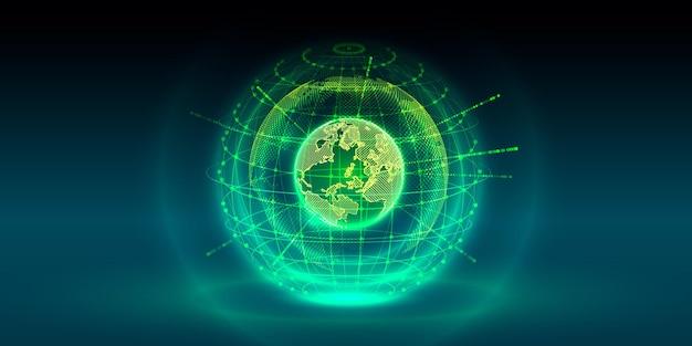 Koncepcja globalna planeta ziemia punkt czarne tło