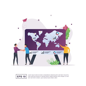 Koncepcja globalnego biznesu z osobą, ściskając ręce