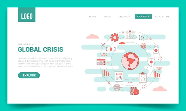 Koncepcja globalnego kryzysu z ikoną koła dla szablonu strony internetowej