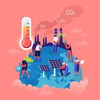 Koncepcja globalnego ocieplenia. drobne postacie pielęgnują rośliny na ziemi, fabryczne rury emitujące dym, płaska ilustracja kreskówka
