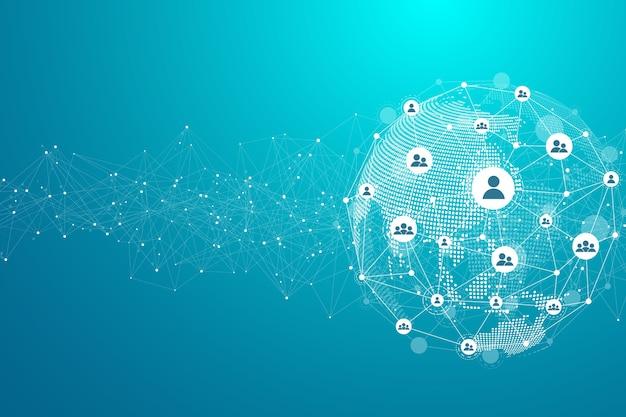 Koncepcja globalnego połączenia sieciowego. wizualizacja big data. komunikacja w sieciach społecznościowych w globalnych sieciach komputerowych. technologia internetowa.