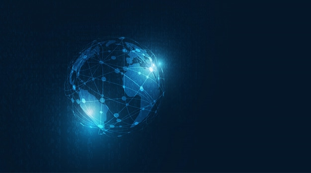 Koncepcja globalnej technologii cyfrowej. globalne połączenie sieciowe ze światową cmapą na ciemnym niebieskim tle.
