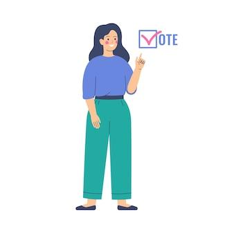 Koncepcja głosowania i wyborów. działaczka domaga się głosów. kampania przedwyborcza.