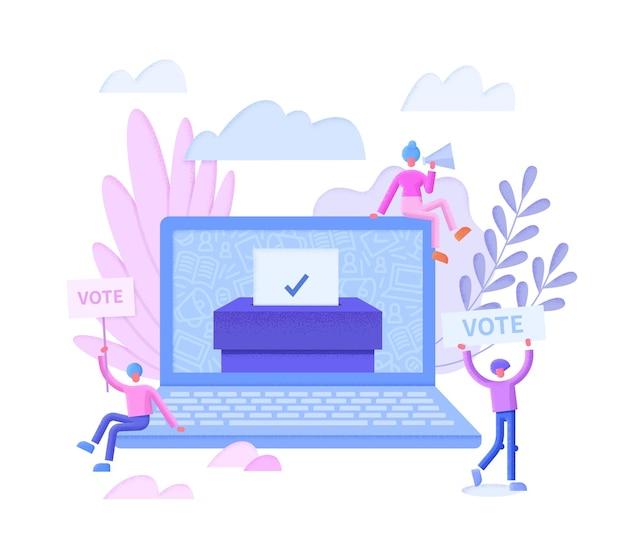 Koncepcja głosowania online płaska ilustracja z ekranem komputera