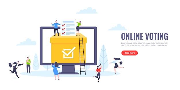 Koncepcja głosowania online płaski projekt ilustracji wektorowych