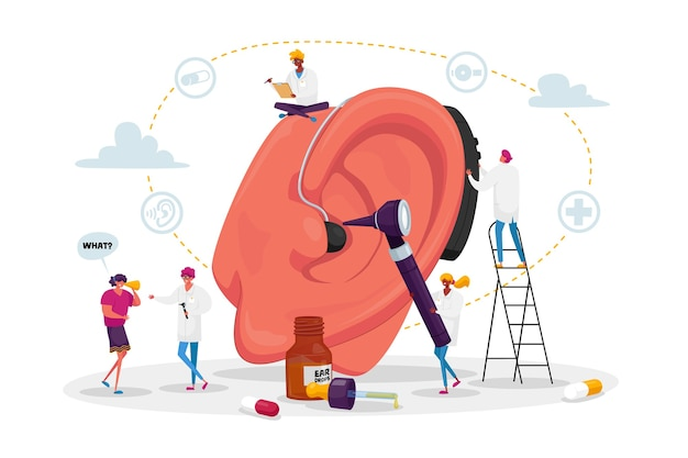 Koncepcja głuchoty. osoby niesłyszące z problemami ze słuchem odwiedzające lekarza audiologa w celu leczenia uszu. małe postacie wokół wielkiego ucha korzystające z aparatu słuchowego, wizyta u lekarza. kreskówka