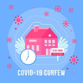 Koncepcja godziny policyjnej koronawirusa z komunikatem o pozostaniu w domu