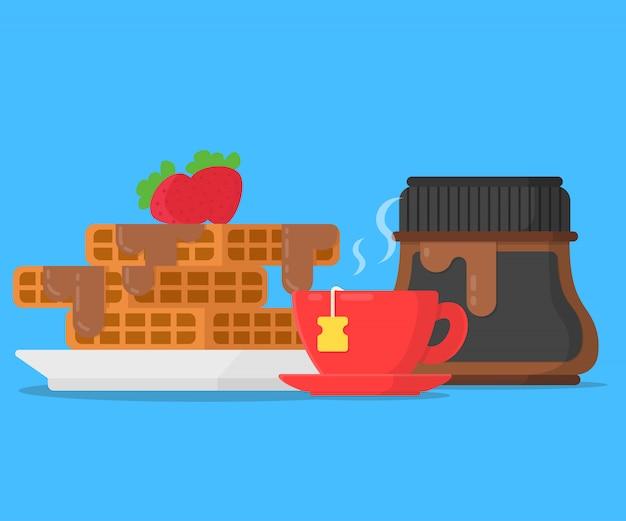 Koncepcja gofry śniadaniowe z makaronem czekoladowym i filiżanką herbaty