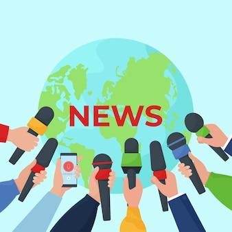 Koncepcja gorących, świeżych wiadomości. ręce dziennikarzy z mikrofonami. płaska ilustracja