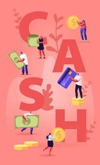 Koncepcja gotówki. malutcy ludzie z ogromnymi złotymi monetami, rachunkami i kartami kredytowymi. płaskie ilustracja kreskówka