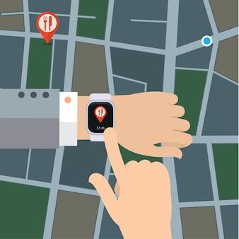 Koncepcja gps w stylu płaskiej. inteligentny nawigator zegarka