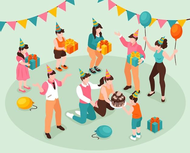 Koncepcja gratulacji urodzinowych z prezentami dla dzieci i izometryczną ilustracją ciasta