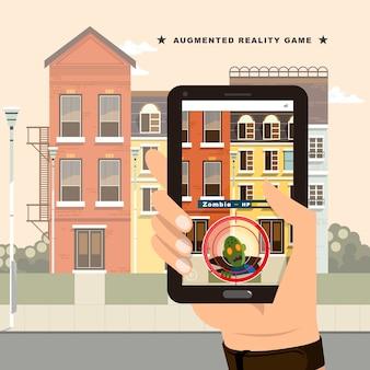 Koncepcja gry augmented reality w stylu płaski