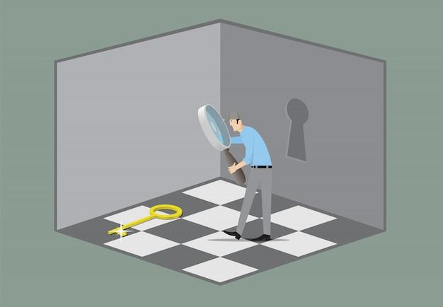 Koncepcja gry escape room. człowiek z lupą wyszukiwanie klucz, który otwiera drzwi.