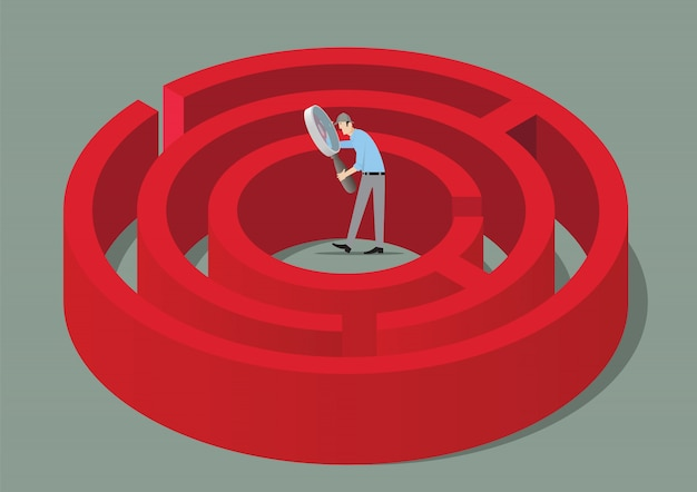 Koncepcja gry escape room. człowiek z lupą znalezienie rozwiązania labiryntu.