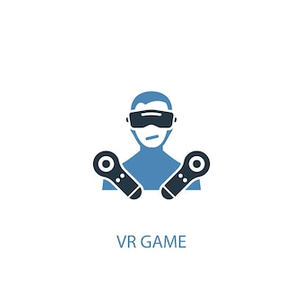 Koncepcja gry vr 2 kolorowa ikona. prosta ilustracja niebieski element. projekt symbolu gry vr. może być używany do internetowego i mobilnego interfejsu użytkownika/ux
