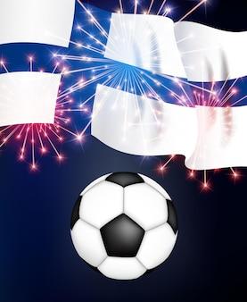 Koncepcja gry w piłkę nożną tło finlandia z flagą mistrzostwa
