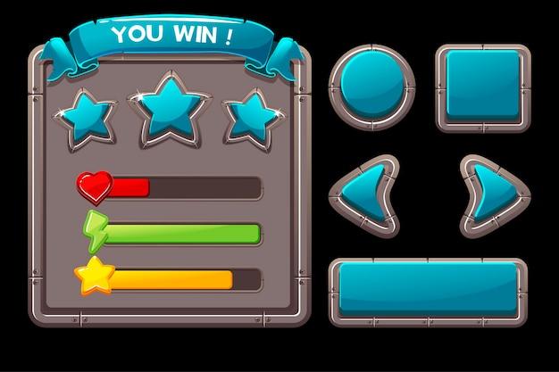 Koncepcja gry z metalowym interfejsem do gry. ilustracja wektorowa niebieskich przycisków i ramek menu.