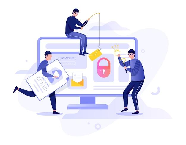 Koncepcja hakera. kradzież danych cyfrowych z komputera. system urządzeń atakujących złodzieja. włamanie do internetu. ilustracja w stylu kreskówki