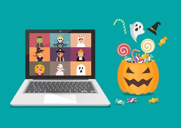 Koncepcja halloween party online. dzieci w strojach grozy na ekranie laptopa. ilustracja wektorowa