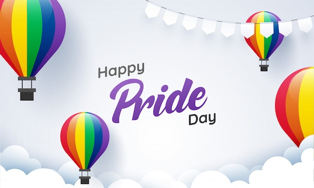 Koncepcja happy pride day z balonami w kolorze gorącego powietrza dla społeczności lgbtq.