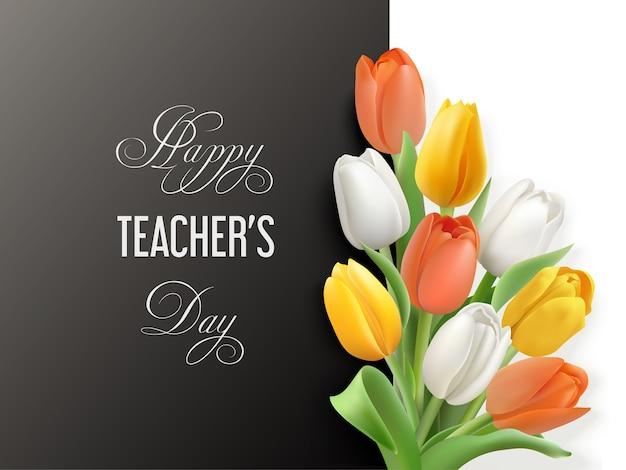 Koncepcja happy teacher's day z białymi, żółtymi, pomarańczowymi tulipanami na białym i czarnym tle.