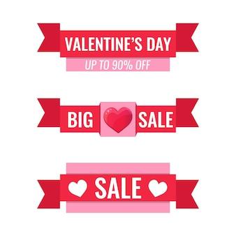 Koncepcja happy valentines day. zestaw poziomych banerów wstążkowych z serca.