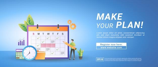 Koncepcja harmonogramu online. utwórz harmonogram za pomocą strony internetowej lub aplikacji mobilnej. zarządzaj czasem pracy i harmonogramem.