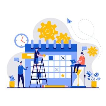 Koncepcja harmonogramu z małym zespołem biznesowym planuje pracę firmy