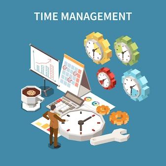 Koncepcja harmonogramu zarządzania czasem z izometryczną ilustracją symboli terminów