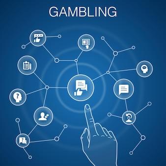 Koncepcja hazardu, niebieskie tło. ruletka, kasyno, pieniądze, ikony kasyna online