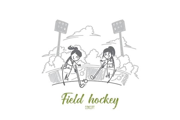 Koncepcja hokeja na trawie. ręcznie rysowane dwie hokeistki. konkurs hokeja na trawie między kobietami na białym tle ilustracji wektorowych.