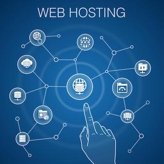 Koncepcja hostingu, niebieskie tło nazwa domeny, przepustowość, baza danych, ikony internetowe