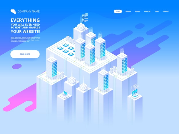 Koncepcja hostingu z przechowywaniem danych w chmurze i serwerownią. szafa serwerowa z chmurą. szablon nagłówka. ilustracja w stylu izometrycznym
