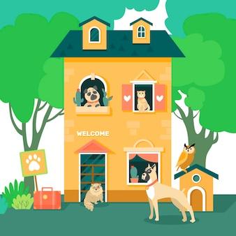 Koncepcja hotelu dla ilustracji zwierząt