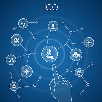 Koncepcja ico, niebieskie tło.kryptowaluta, startup, gospodarka cyfrowa, ikony technologii