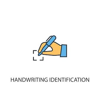 Koncepcja identyfikacji pisma ręcznego 2 kolorowa ikona linii. prosta ilustracja elementu żółty i niebieski. koncepcja identyfikacji pisma ręcznego projekt symbolu konspektu